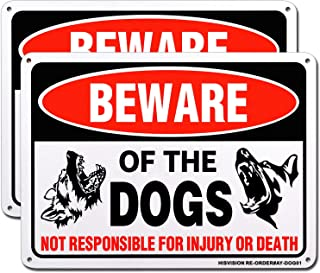 """HISVISION Beware of Dog Sign, 2 Pack 10""""x 7"""" Rust Free .40 Aluminum, UV Printed- Professional Graphics- Easy to Mount- Ind..."""