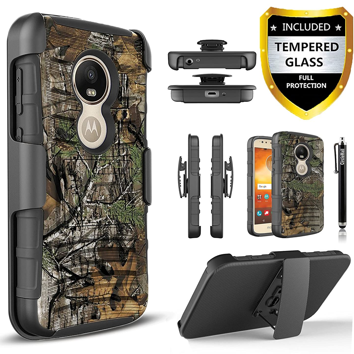 Motorola Moto E5 Plus Case, Moto E5 Supra Case with [Tempered Glass Screen Protector] [Not Fit Moto E5 Play],and Built-in Kickstand Heavy Duty Combo Belt Clip Holster Phone Cover and Stylus -Camo