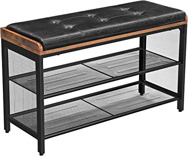 VASAGLE Storage Chests, Shoe Bench, Padded Storage Bench with Mesh Shelf, Shoe Rack, Metal Frame, Easy Assembly, Space Saving