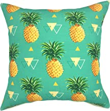 YOUR SMILE Pineapple Cotton Linen Decorative Throw Pillow Case Cushion Cover Pillowcase for Sofa 18 x 18 Inch,Teal