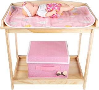 """Hey! Play! Baby Doll Changing Table for 18"""" Dolls & Stuffed Animals- Wooden Diaper Station, Changing Pad, Storage Basket for Toys & Accessories"""