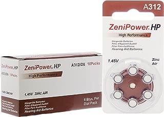 60 ZeniPower Hearing Aid Batteries Size: 312 + Battery Holder Keychain Kit