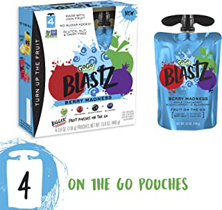 GoGo squeeZ BlastZ Fruit Pouches on the Go, Berry Madness, 3.88 Ounce (4 Pouches), Gluten Free, Vegan Friendly, Healthy Snacks, Unsweetened, Recloseable, BPA Free Pouches