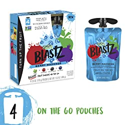 GoGo squeeZ BlastZ Fruit Pouches on the Go, Berry Madness, 3.88 Ounce (4 Pouches), Gluten Free, Vega