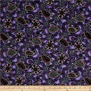 Oasis Fabrics Down Under Aboriginal Tossed Sea Turtles, Purple