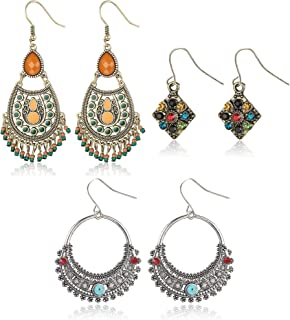 LOYALLOOK 3 Pairs Bohemian Vintage Dangle Earrings National Style Hollow Water Drop Shaped Dangle Drop Earrings for Women ...