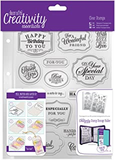 DOCrafts DCE907118 Creativity Essentials A5 Clear Stamp Set (18 Pack), Trad Sentiment, Blue
