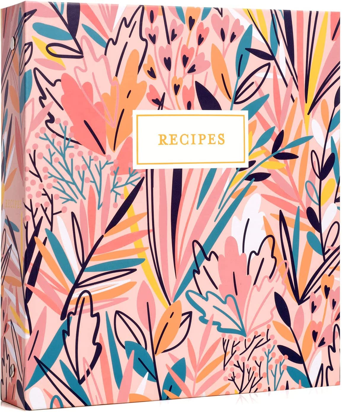 Jot & Mark Recipe Organizer 3 Ring Binder Set (Exotic Floral) | 50 Recipe Cards 4x6, Rainbow Full Page Dividers and Plastic Page Protectors