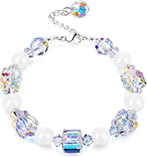 "Swarovski Crystals Bracelets, Swarovski White Bead Square Round Butterfly Shaped Aurora Crystals Bracelets for Women Girls Stretch Bracelets, Jewelry Gift for Christmas Day, 7""+2"""