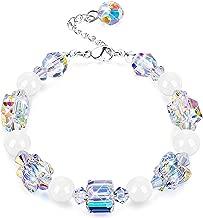 "KesaPlan Swarovski Crystals Bracelets, Swarovski White Bead Square Round Butterfly Shaped Aurora Crystals Bracelets for Women Girls Stretch Bracelets, Jewelry Gift for Christmas Day, 7""+2"""