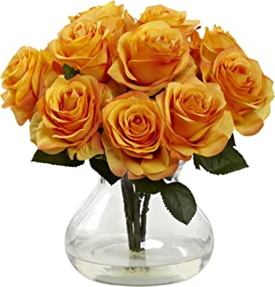 Nearly Natural 1367-OY Rose Arrangement with Vase, Yellow/Orange