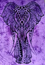 ICC Standing Elephant Poster Hippie Tapestry, Hippy Mandala Bohemian Tapestries Tapestry Wall Hanging Ethnic Decorative Indian Dorm Decor, Psychedelic 30x40 inches Multi-Color (Purple)