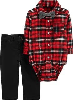 Carter's Boy Holiday red Plaid Bowtie Dress Me Up Pants + Bodysuit Set 12 Months