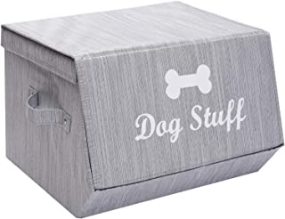 Morezi Canvas Dog Toy Basket and Dog Toy Box with lid, Basket Chest Organizer - Perfect for organizing pet Toys, Blankets,...