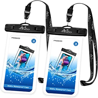 MoKo Waterproof Phone Pouch [2 Pack], Underwater Clear Phone Case Dry Bag with Lanyard Compatible with iPhone 11/11 Pro Max, X/Xs/Xr/Xs Max, 8/7/6 Plus, Samsung S10/S9/S8 Plus, S10e, A10E, Note 10/9/8