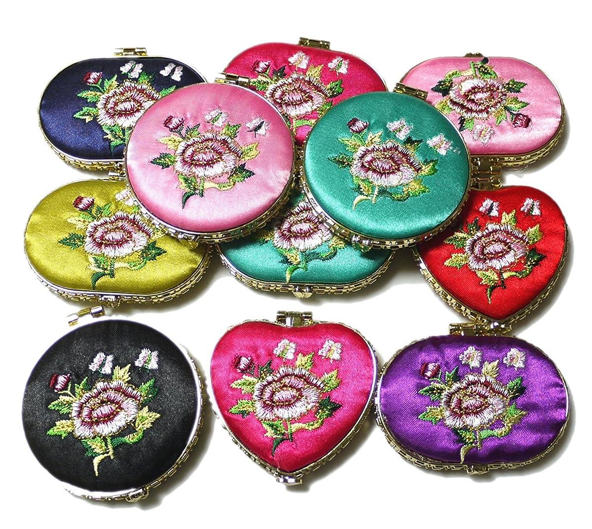 変わるセットアップ保護刺繍柄化粧鏡 (3色セット)ハンドミラー 中国雑貨 西安民俗工芸品