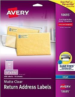 """ملصقات العنوان الشفاف غير اللامع من Avery ، تقنية التغذية المؤكدة، نافثة للحبر، 2/3"""" x 1-3/4""""، 600 ملصق، 5 عبوات (18695) 2/3"""" x 1-3/4"""""""