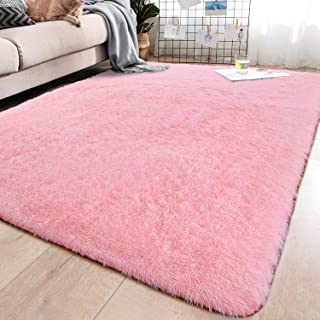 YJ.GWL Soft Pink Shaggy Area Rugs for Girls Room Bedroom Non-Slip Kids Carpet Baby Nursery Decor Fluffy Modern Rug 5.3 x 7.6 Feet