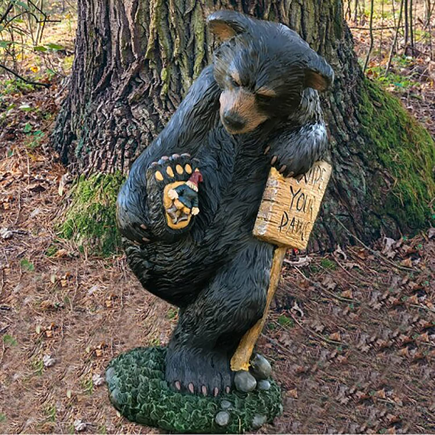 AMHLO Funny Bear Gnome Statues - Wipe Your Paws Bear Statue Dwarf - Miniature Garden Gnome Statues for Outside Decoration - Miniature Gardening Clearance Craft