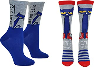 Pete the Cat Socks (Adult) (2 Pair) - (Women) Pete the Cat Gifts Crew Socks - Fits Shoe Size: 4-10 (Ladies)