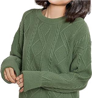 Suéter De Lana De Punto para Mujer Nuevo Suéter De Lana De Cuello Redondo De Color Sólido para Mujer,Green 02,L