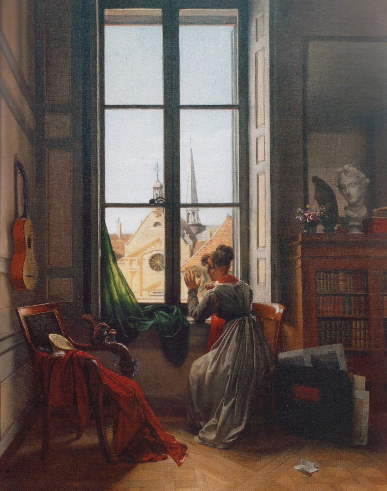 Amazon Com Louise Adeone Drolling Interior With Young Woman Tracing A Flower 1820 1822 Saint Louis Art Museum 30 X 24 Fine Art Giclee Canvas Print Unframed Reproduction Posters Prints