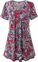 MOQIVGI Women's V Neck Printed Loose Fit Casual Blouse Top Tunic Shirt