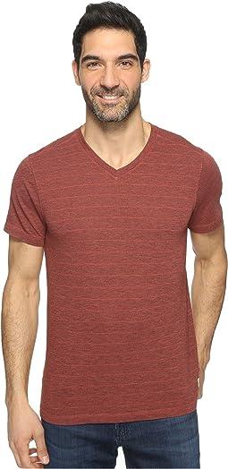 Hal Short Sleeve V-Neck Tri-Blend Jersey Stripe Block