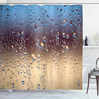 Ambesonne Rain Shower Curtain, Close up Rain Drops on Glass Natural Sprays Sphere Contrasting Colors Picture, Cloth Fabric Bathroom Decor Set with Hooks, 70