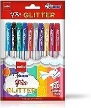 Cello Geltech Fun Glitter Gel Pen (Pack of 10 pens in Multicolour ink) | Glitter gel pens for art lovers & kids | Sparkle ink in gel pens