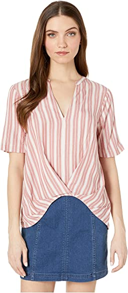 Pleat Front Short Sleeve Woven Top