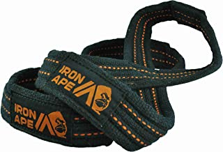 IRON APE Figure 8 Straps for Deadlift,  Weight Lifting,  Shrugs,  and Weightlifting. Heavy Duty Cotton,  4 Sizes