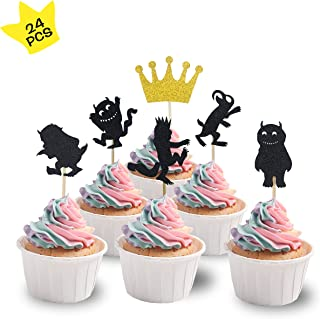 KKAZOKU Where The Wild Things are Inspired Cupcake Topper(Pack of 24)Wild One Kids Birthday Party Supplies Decorations and Cupcake Party(where the wild things are cupcake topper)