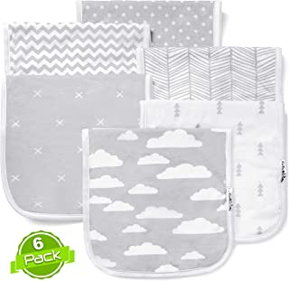 Baby Burp Cloths Set (6 Pack), Super Soft Cotton, Large 21x10, Thick, Soft and Absorbent Towels, Burping Rags for Newborns, Baby Shower Gift for Boys and Girls by BaeBae Goods … …