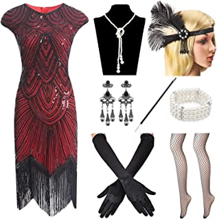e0a0cfa5cf89 Women 1920s Vintage Flapper Fringe Beaded Gatsby Party Dress with 20s  Accessories Set
