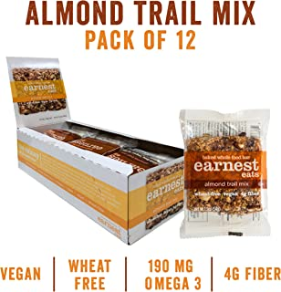 Earnest Eats Chewy Breakfast Bars with Whole Grain Oats and Almond Butter, Superfood, Vegan, 190mg Omega 3, Almond Trail Mix, 1.9oz Bars, Pack of 12
