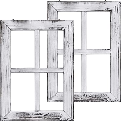 Greenco White Wooden Rustic Mount Window Frames Vintage Country Farmhouse Wall Décor Set Of 2 Furniture Decor