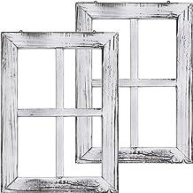 إطارات Greenco الخشبية الريفية للتعليق على النافذة باللون الأبيض - ديكور جداري - مجموعة من 2