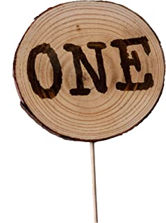 CMS Design Studio Handmade Wood Disc 1st Birthday Cake Topper - One