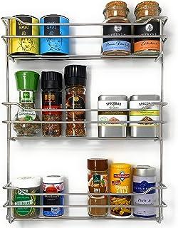 Kitcherieur estantería de especias | acero inoxidable | de 33,0cm X 42,5cm X 6,6cm con 3 niveles de soporte para 21 frascos de especias, especial para colgar en la cocina o al aire libre