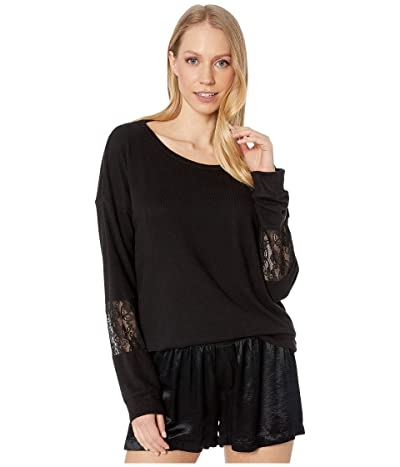 P.J. Salvage Heart to Heart Lace Sweater (Black) Women