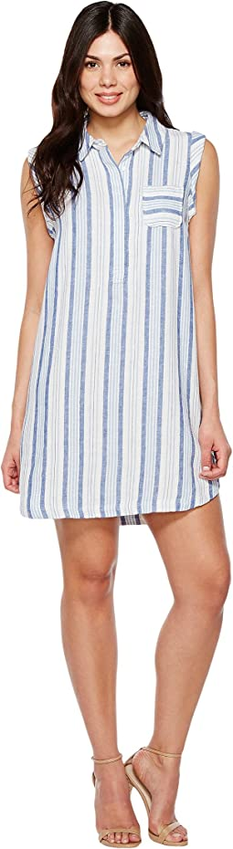 Sleeveless Sky Stripe Linen Collared Dress