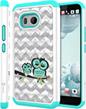HTC U11 Case, HTC Ocean Case, Style4U (Shockproof) Cute Owl Design Studded Rhinestone Crystal Bling Hybrid Armor Defender Case Cover for HTC U 11 HTC Ocean with 1 Style4U Stylus (White Teal)