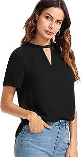 Women's Summer Casual Cut Out Short Sleeve T-Shirt Top