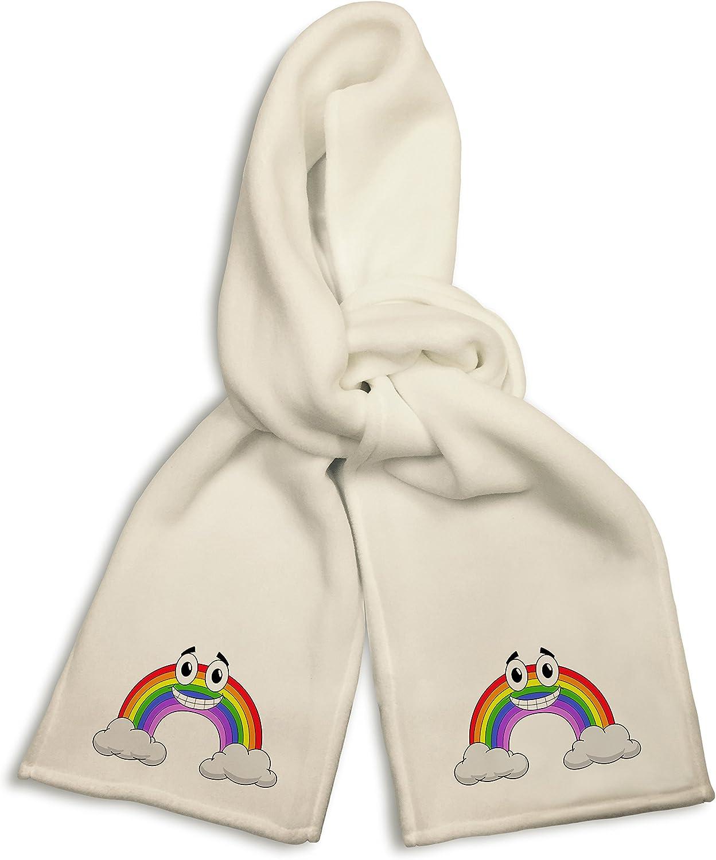 White Winter Scarf - Smiling Rainbow Cartoon