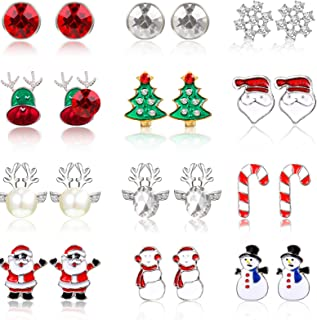 12 Pairs Christmas Stud Earrings Set Red Santa Claus, Candy Cane, White Snowman, Green Christmas Tree Earrings Christmas C...
