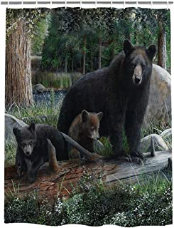 Meet 1998 Rustic Black Bear & Cubs Waterproof Bathroom Fabric Shower Curtain Bath Curtain,72 X 72 Inch