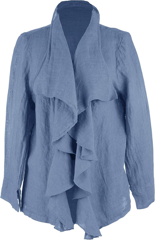 Ladies Women Italian Lagenlook Long Sleeve Elastic Back Waterfall Linen Jacket Shrug Cardigan One Size