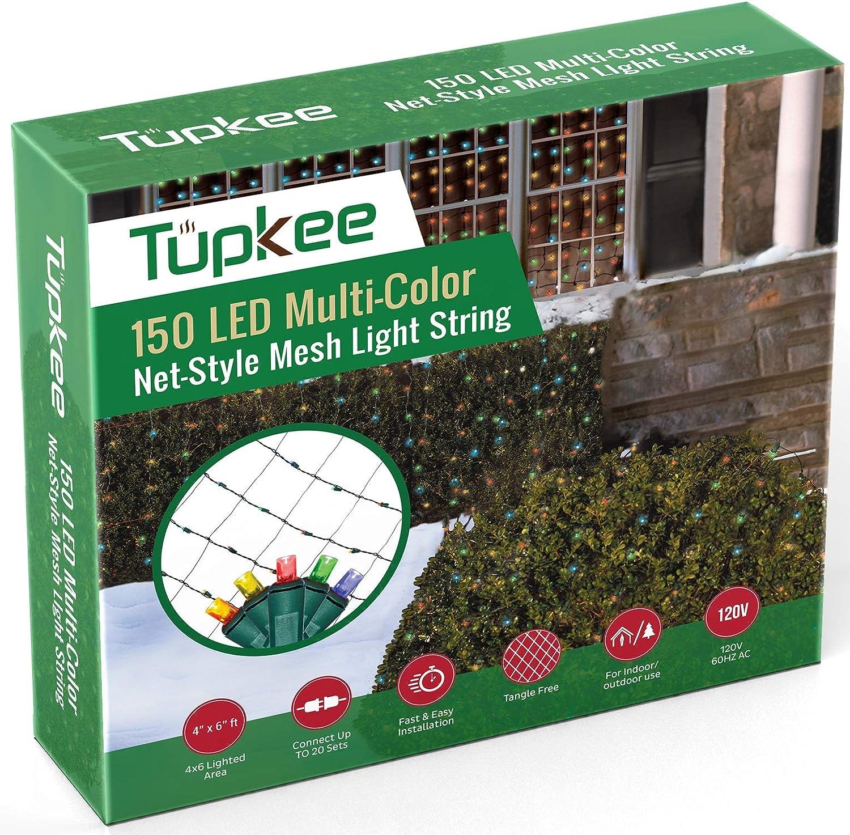 Tupkee Christmas Light Net – 150 LED Multi-Color Mesh Lights - 4 ft x 6 ft – Outdoor / Indoor – Net Lights for Bushes, Hedges or Trees