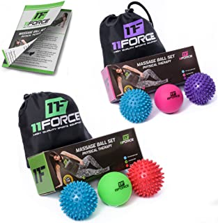 Massage Ball Set - (Set Includes 2 Spiky Balls and 1 Lacrosse Ball) - Excellent for Sciatic Nerve Massage, Trigger Point Therapy, Reflexology, Myofascial Release, Muscle Recovery, Yoga, Foot Pain